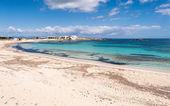 Els Pujols beach in Formentera island, Mediterranean sea, Spain — Stock Photo