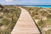 Beach way to Illetes beach in Formentera Balearic islands — Stock Photo