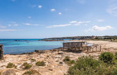 Es Pujols port in Formentera island wooden boat railways — Stock Photo
