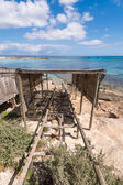 Es Pujols port in Formentera island boat railways — Stock Photo