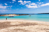 Tourist visiting Els Pujols beach in Formentera island, Mediterr — Stock Photo