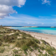 Illetes beach in Formentera island, Mediterranean sea, Spain - Stock Photo