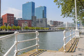 Calatrava Bridge and Isozaki towers in Bilbao — Stock Photo