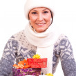 Stock Photo: Woman with Christmas Gift box
