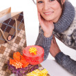 Woman with Christmas Gift box — Stock Photo #14715099
