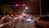 Traffic jam in Shenzhen at night — Stok fotoğraf