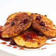 Cottage cheese pancake with cherry jam — Stock Photo