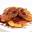 Cottage cheese pancake with cherry jam — Stock Photo #13901955