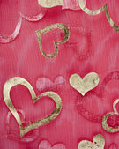 Hearts on sheer material background — Foto de Stock