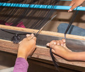 Silk making cambodia — Stock Photo
