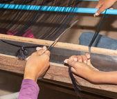 Silk making cambodia — Stock Photo