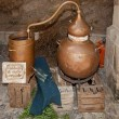 Copper still for making alcohol — Stock Photo