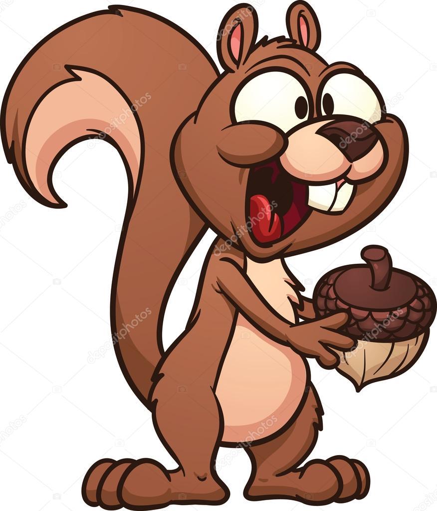 可爱卡通松鼠持有坚果.使用简单的渐变矢量插画