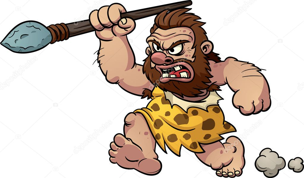 Caveman Cartoon Show : Angry caveman — stock vector memoangeles
