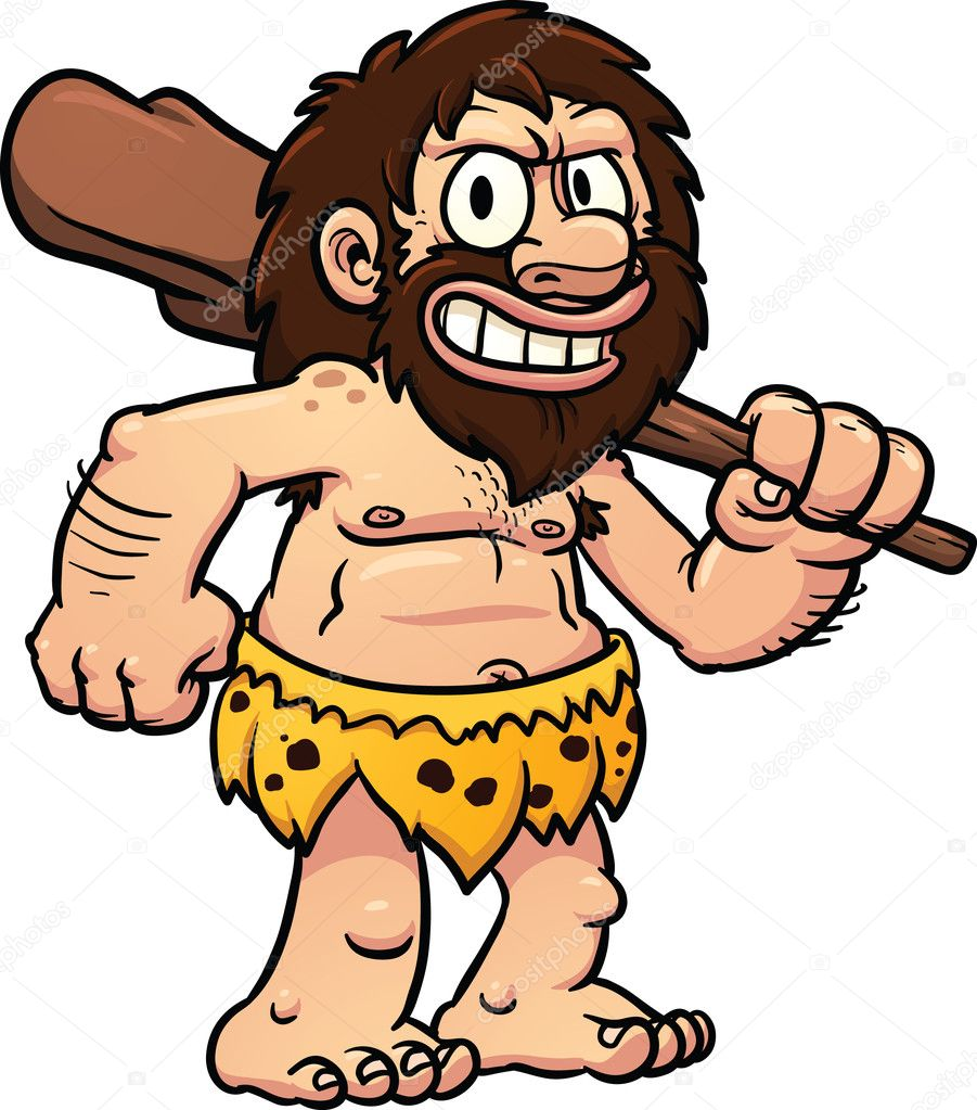 Caveman Artist : Cartoon caveman — stock vector memoangeles