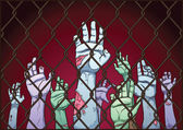 Zombie hands on fence — Stock Vector