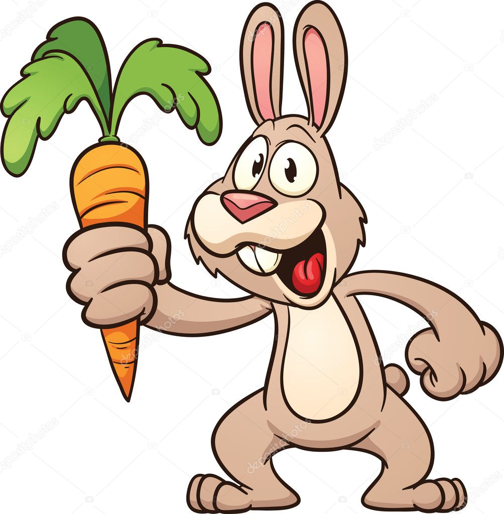 Coniglio cartone animato tenendo una carota — vettoriali
