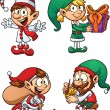 Stock Vector: Christmas elves