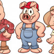 Three little pigs - Stock Vector