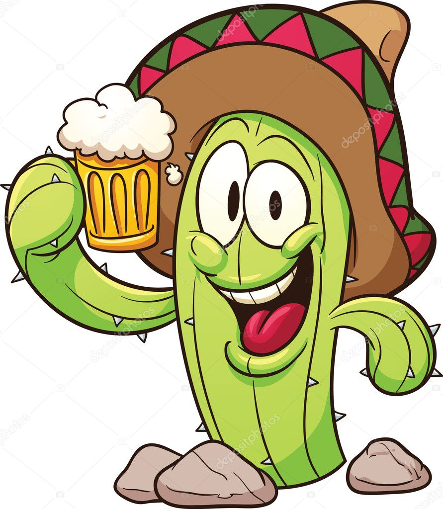 Cartoon mexican cactus holding a beer. Vector clip art illustration ...