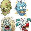 Zombie heads — Stock Vector