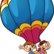 Kids flying on a balloon - Imagen vectorial