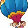 Kids flying on a balloon — Stock Vector
