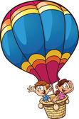 Kids flying on a balloon — Stock Vector
