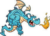 Angry blue dragon — Stock Vector