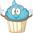 Stock Vector: Blue cartoon cupcake
