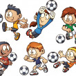 Stock Vector: Soccer kids