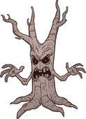 恐怖的万圣节树 — 图库矢量图片