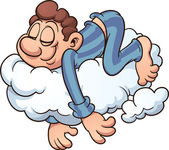 Sleeping on a cloud — Stock Vector