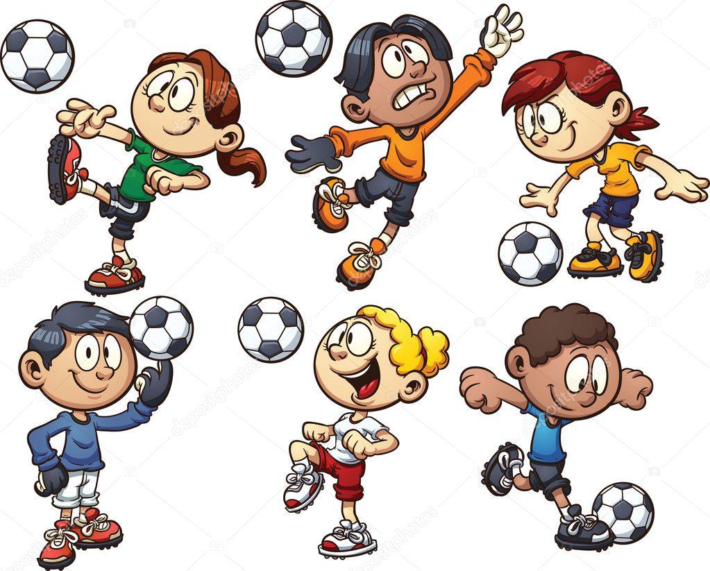 Crianças de futebol — Vetor de Stock © memoangeles #46510303