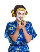 Frau mit einer maske — Stockfoto