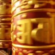 Buddhist prayer wheel rotates - sacred mantra om mani — Stock Video