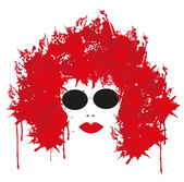 The woman face in red — Stock Vector