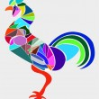 Rooster composed of colors — Stock Vector