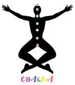 Yoga pose och chakra punkt — Stockvektor
