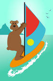 Bear on the beach — Stock Vector