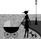 Little family silhouette — Stock Vector