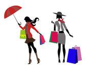 Las niñas y compras — Vector de stock