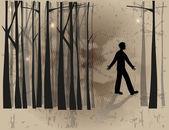 Boy in the woods — Stock Vector
