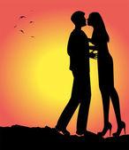 Loving couple vector silhouette — Stock vektor
