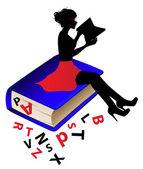 Girl  silhouette reading a book — Stock Vector