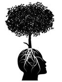 Tree growing from a head — Stock Vector