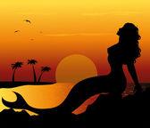 Mermaid silhouette — Stock Vector