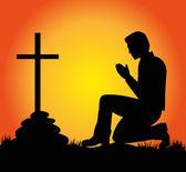 Silhouette of man praying — Stock Vector