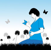 Pregnant woman on a meadow — Stock Vector