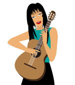 Girl with guitar — Stock Vector